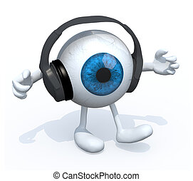 headphones on a big eyeball with arms and legs