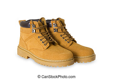 Pair of hiking boots on white background