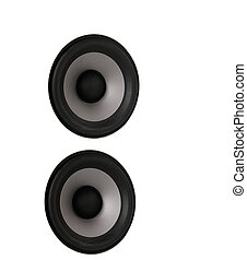 pair of home-speaker woofers, isolated on white