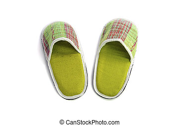 Pair of house shoes on a white background