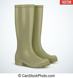 Pair of hunters boots - Pair of green rubber hunters and...