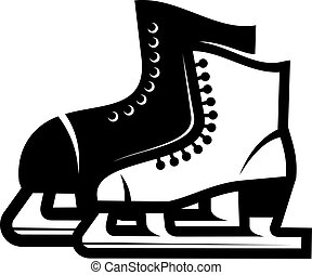 Pair of ice skates - Black and white illustration of a pair...