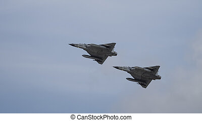 Pair of jet fighters in flight - Mirage 2000 jet fighter...