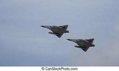 Pair of jet fighters in flight - Mirage 2000 jet fighter...