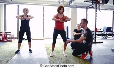 Pair of kettlebells laid on the floor in gym - Pair of...
