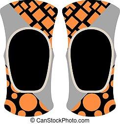 Pair of knee sport protectors activity equipment flat vector.