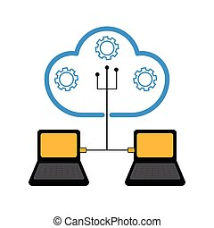 Pair of laptops connected to cloud technology