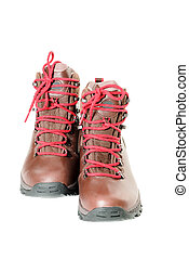 pair of leather hiking boots isolated on white front view