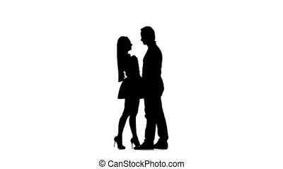 Pair of lovers kissing A white background. Silhouette. Slow...
