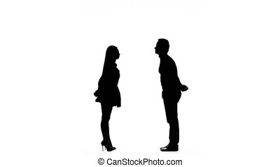 Pair of lovers kissing. White background. Silhouette - Pair...
