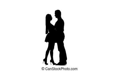 Pair of lovers kissing. White background. Silhouette. Slow...