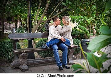 pair of lovers on a bench