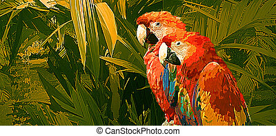 Pair of Macaw Parrots - Image from an original 11x24...