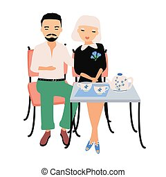 Pair of male and female cartoon characters dressed in elegant clothing sitting at table, cuddling and drinking tea. Man and woman on romantic date at cafe. Colorful vector illustration in flat style.