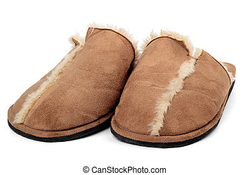 Pair of male house slippers made of sheepskin isolated on white background