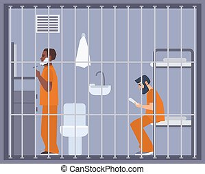 Pair of men in prison, jail or detention center room. Two...