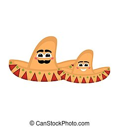 Pair of mexican hats with a smile