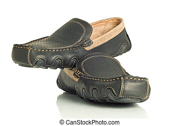 Pair of modern black mens shoes moccasins