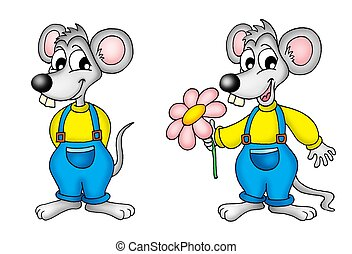 Pair of mouses - pair of mouses - color illustration.