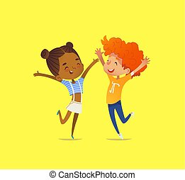 Pair of multiracial kids, boy and girl, happily dance with their hands up, smile and rejoice. Concept of delight, joy and cheerfulness. Vector illustration for banner, poster, website, advertisement.