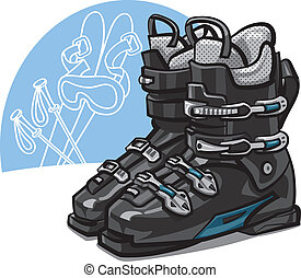 ski boots - pair of new black ski boots