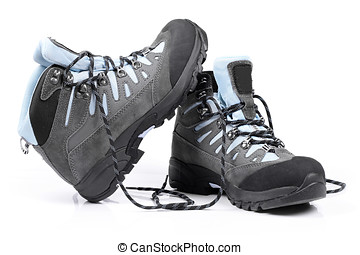 pair of new hiking boots on white background