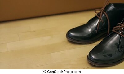 pair of new shoes - Pair of leather black Shoes close to...