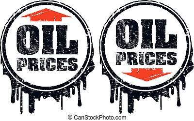 Pair of oil prices grunge design with up and down arrow, showing a decline  and rise in oil prices