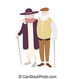 Pair of old man and woman dressed in stylish clothing standing with canes and embracing each other. Senior loving couple. Flat cartoon characters isolated on white background. Vector illustration.
