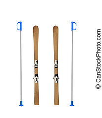 Pair of old wooden alpine skis isolated