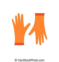 Pair of orange rubber gloves icon, flat style