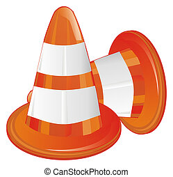 pair of orange traffic cones
