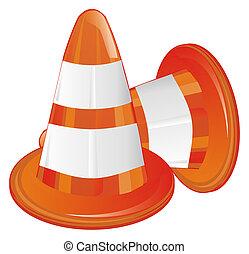 pair of orange traffic cones