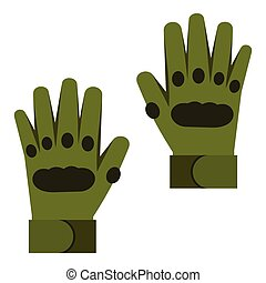 Pair of paintball gloves icon, flat style