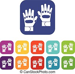 Pair of paintball gloves icons set