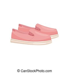 Pair of pink female slip-ons, side view. Cute shoes with rubber sole. Casual women footwear. Flat vector design
