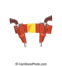 Pair Of Pistols In Belt Holster Drawing Isolated On White Background. Cool Colorful Wild West Themed Vector Illustration In Stylized Geometric Cartoon Design