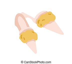 Pair of pointed toe fur winter slippers isolated on white. Home backless furry shoes. Trendy elegant women footwear. Colored flat vector illustration of fashion stylish female slides