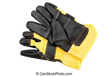 Pair of protective gloves - Pair of black and yellow...