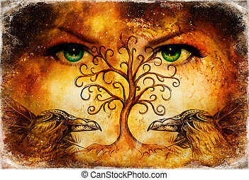 pair of ravens with tree of life symbol and green female goddess eyes on horizon