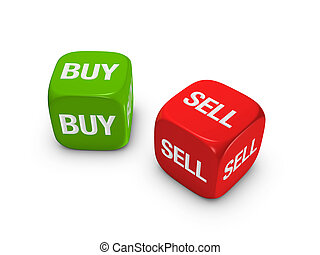 pair of red and green dice with buy, sell sign isolated on ...
