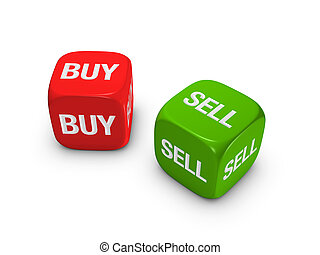 pair of red and green dice with buy, sell sign isolated on...