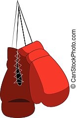 Pair of red boxing gloves is hanging from the wall vector color drawing or illustration