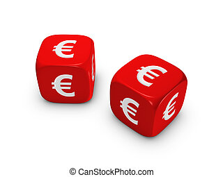 pair of red dice with euro sign