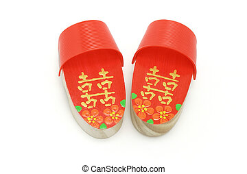 Pair of red Double Happiness clogs