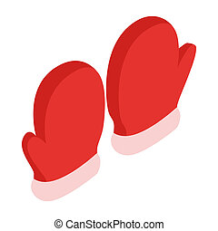 Pair of red mittens icon, isometric 3d style