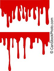 Pair of red paint or blood drips. Vector illustration for your design.