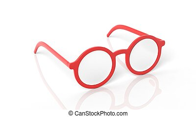 Pair of red round-lens eyeglasses, isolated on white background.