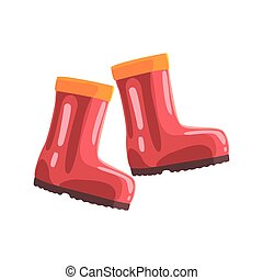 Pair of red rubber boots cartoon vector Illustration
