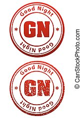 Pair of red rubber stamps in grunge and solid style with...